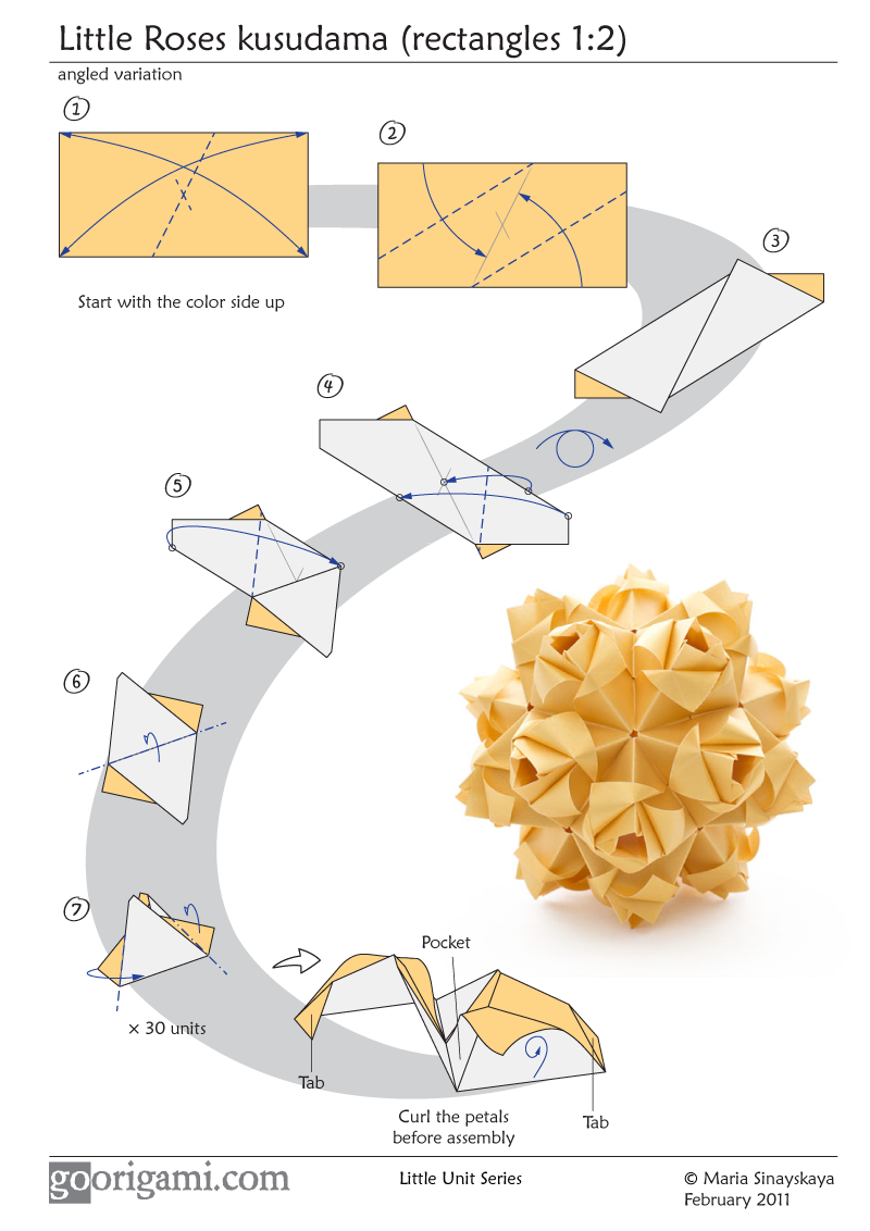 Complex Origami Flower Instructions Rose Diagram