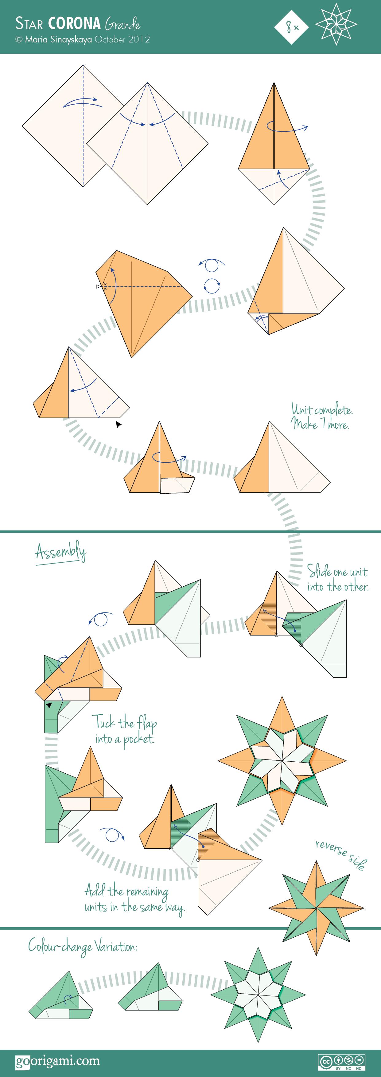 Corona Grande Star by Maria Sinayskaya — Diagram | Go Origami