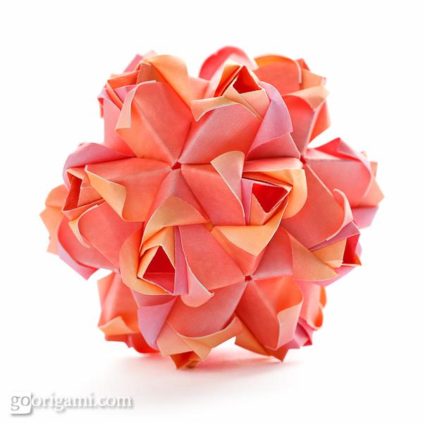 Little roses kusudama diagram for Paper rose origami