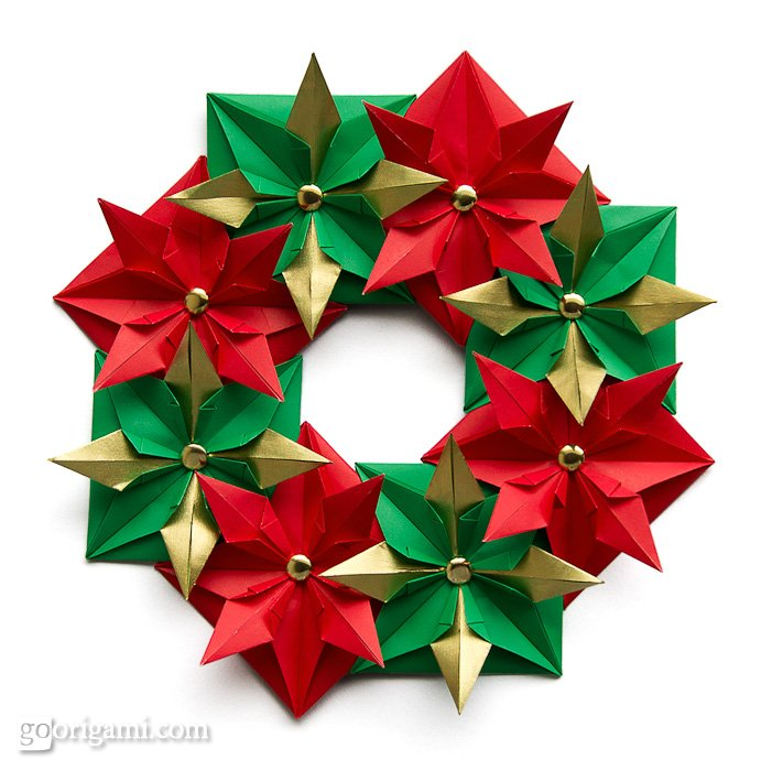 Origami Christmas Wreath — Holiday Origami | Go Origami