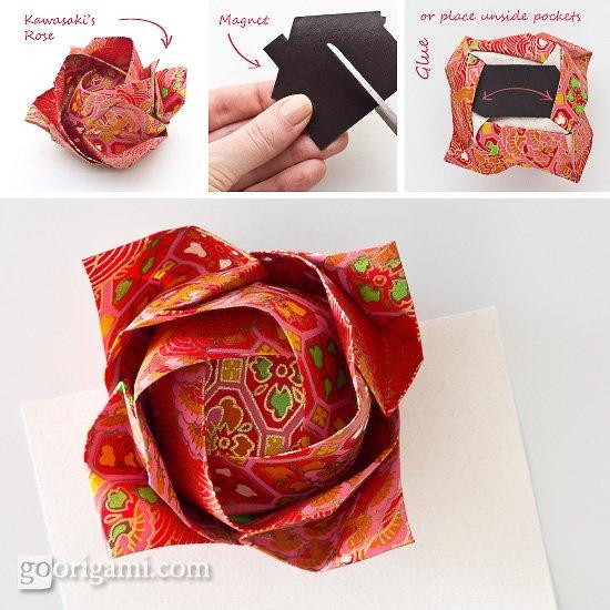 Origami Magnet - Kawasaki's Rose