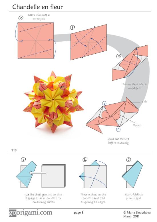 Chandelle en Fleur Kusudama Diagram