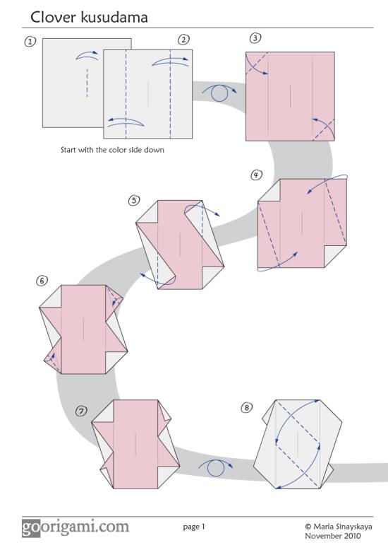 Clover Kusudama Diagram Page 1